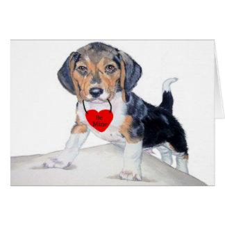 Be MIne Bagel the Beagle Notecard