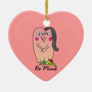Be Mine Black Hair Woman Valentine Heart Ornament