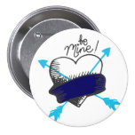Be Mine Blue and Black Heart Arrows Button