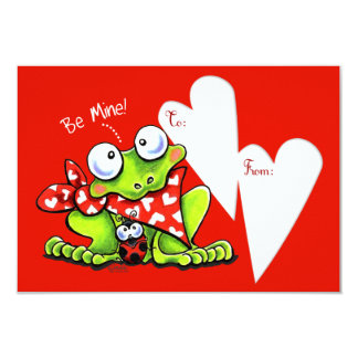 Be Mine Blushing Froggie Kids Valentine 3.5x5 Paper Invitation Card