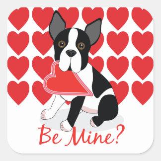 Be Mine? Boston Terrier Valentine's Day Stickers