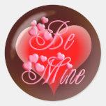 BE MINE BUBBLE HEART on black by SHARON SHARPE Round Sticker