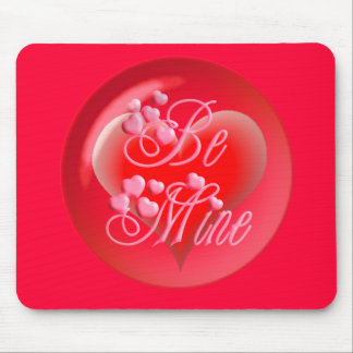 BE MINE BUBBLE HEART on red by SHARON SHARPE Mouse Pad