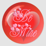 BE MINE BUBBLE HEART on red by SHARON SHARPE Stickers