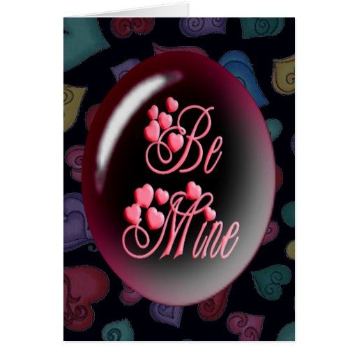 BE MINE BUBBLE & HEARTS by SHARON SHARPE Greeting Card