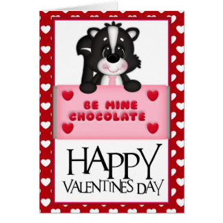 Be Mine Chocolate Valentine Skunk Greeting Card d1