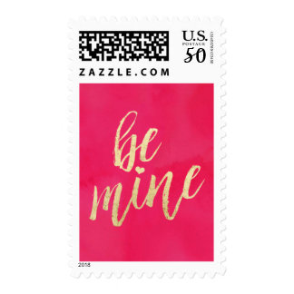Be Mine Gold and Pink Watercolor Postage