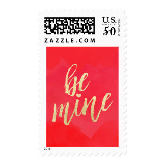 Be Mine Gold and Red Watercolor Postage