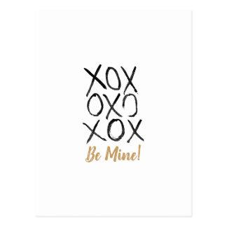 Be Mine! Hand Drawn XOXO Valentine Postcard