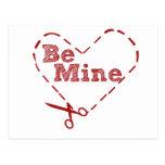 Be Mine heart Cutout Postcard