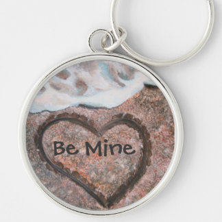 Be Mine heart in the sand by Tracey Smith Studios Keychain