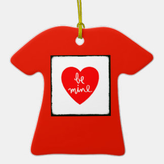 Be Mine Heart Double-Sided T-Shirt Ceramic Christmas Ornament