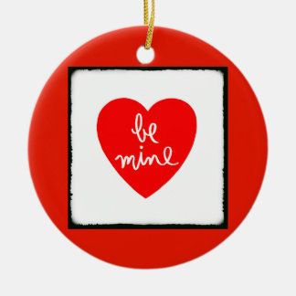 Be Mine Heart Double-Sided Ceramic Round Christmas Ornament
