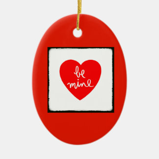 Be Mine Heart Double-Sided Oval Ceramic Christmas Ornament