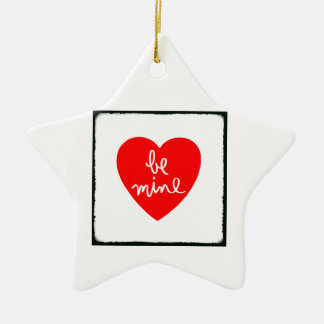 Be Mine Heart Double-Sided Star Ceramic Christmas Ornament