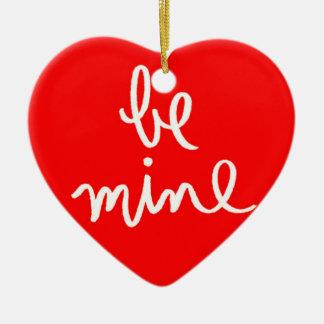 Be Mine Heart Double-Sided Heart Ceramic Christmas Ornament