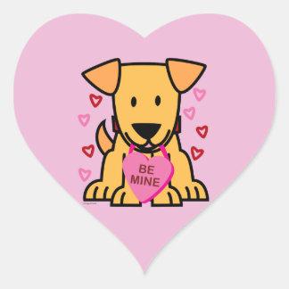 Be Mine Heart Valentine puppy dog Labrador pink Heart Sticker