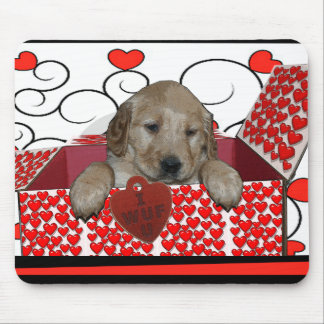 BE MINE - I WUF YOU - I LOVE YOU - PUPPY VALENTINE MOUSE PAD