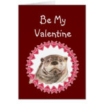 Be Mine or I'll be Sad cute Otter Valentine Greeting Card