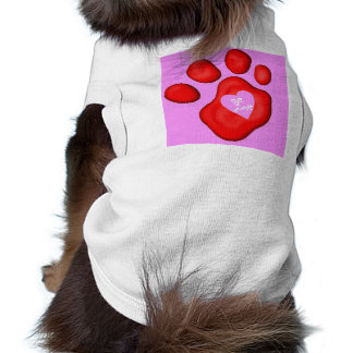 Be Mine Paw with Valentine Heart T-Shirt