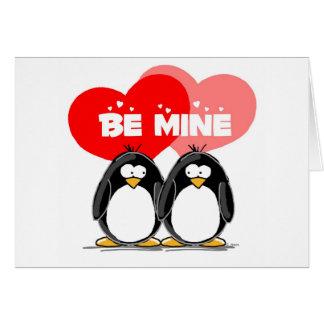 Be Mine Penguins Card