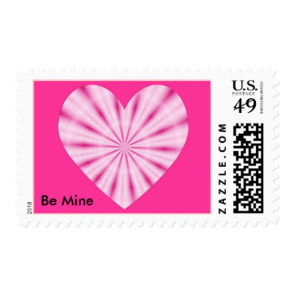 Be Mine pink heart stamps