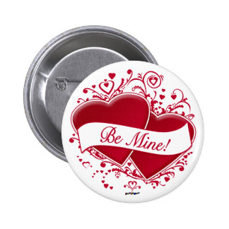 Be Mine! Red Hearts Pinback Button