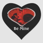"""""""Be Mine"""" - Red Sunflower Heart Stickers"""