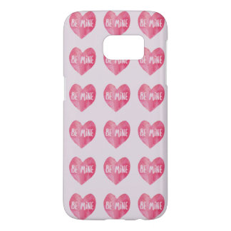 Be mine red watercolor heart samsung galaxy s7 case