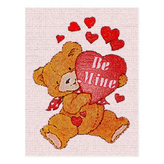 Be Mine Teddy Bear Valentine Postcard