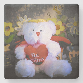 Be Mine Teddy Bear with Heart Stone Coaster