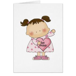 be mine valentine cutie girl tot card