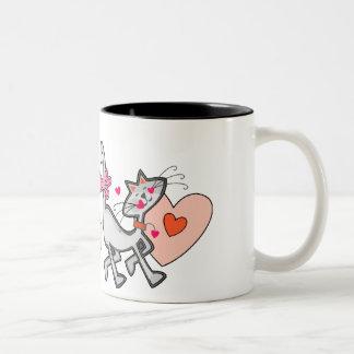 Be Mine Valentine Kitty Cat Two-Tone Coffee Mug