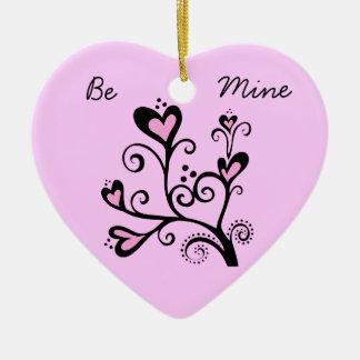 Be Mine Valentine Pink Heart Tree Ceramic Ornament