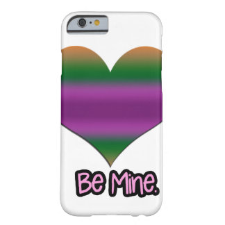 Be Mine Valentine Purple Stripe Heart Barely There iPhone 6 Case