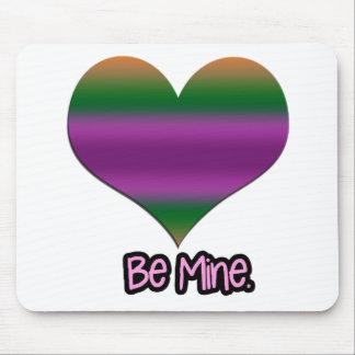 Be Mine Valentine Purple Stripe Heart Mousepad