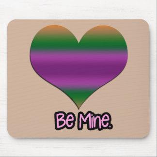 Be Mine Valentine Purple Stripe Heart Mouse Pads