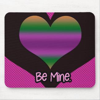 Be Mine Valentine Purple Stripe Heart Mouse Pad
