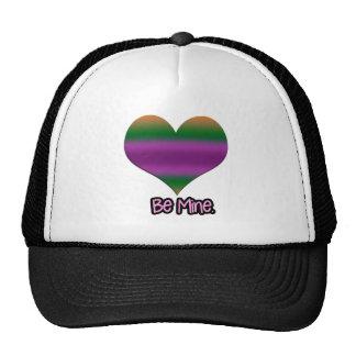 Be Mine Valentine Purple Stripe Heart Trucker Hat