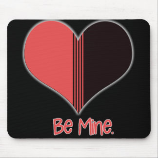 Be Mine Valentine Red Stripe Heart Mouse Pads