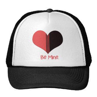 Be Mine Valentine Red Stripe Heart Trucker Hat