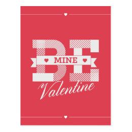 Be Mine Valentine retro Valentines day design Postcard