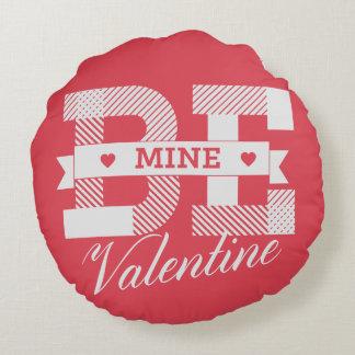 Be Mine Valentine retro Valentines day design Round Pillow