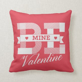 Be Mine Valentine retro Valentines day design Throw Pillow