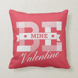 Be Mine Valentine retro Valentines day design Throw Pillow