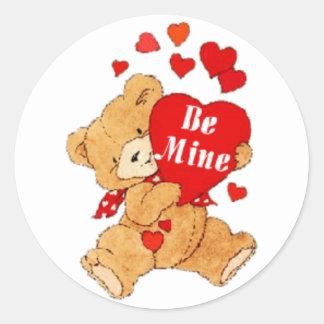 Be Mine Valentine Teddy Classic Round Sticker