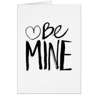 Be Mine Valentine's | Black Brush Script Card