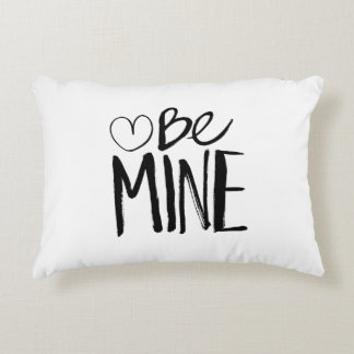 Be Mine Valentine's | Black Brush Script Decorative Pillow