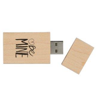 Be Mine Valentine's | Black Brush Script Wood USB 3.0 Flash Drive