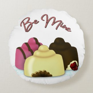 Be Mine Valentine's Day Candy Round Pillow